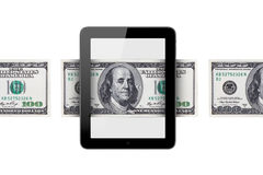 Banknote around Tablet Royalty Free Stock Images