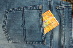 Banknote in back pocket Royalty Free Stock Images