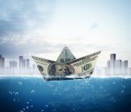 Banknote boat Stock Photo