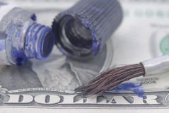 Banknote, brush and paint Stock Photos