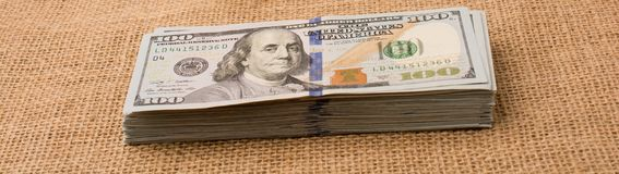 Banknote bundle of US dollar Stock Images