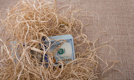 Banknote bundle of US dollar in a straw pile Royalty Free Stock Image