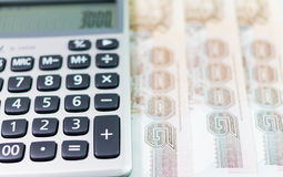 Banknote and  Calculator Stock Images