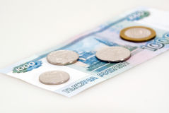 Banknote and coins Stock Photos