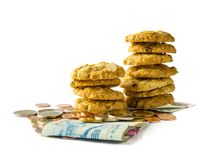 Banknote,coins and cracker on white background. Banknote, coins and stack of crackers on white background , Concept for payment of unhealthy eating Royalty Free Stock Images