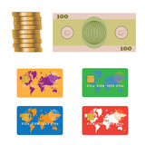 Banknote, coins, credit bank card. Royalty Free Stock Photo