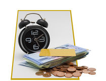 Banknote. Coins,Credit card and Alarm Clock ,Concept for time to save money Royalty Free Stock Photography