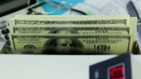 Banknote counter, dollars and blanks white form stock video