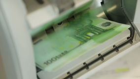 Banknote Counter Re-counts 100 Euro stock video footage