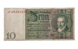 Banknote der Reichsmark 10 lokalisiert auf Weiß Lizenzfreies Stockfoto