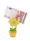 Banknote des Euro 10 in einer Halterung Lizenzfreie Stockfotografie