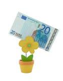 Banknote des Euro 20 in einer Halterung Lizenzfreies Stockbild