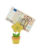 Banknote des Euro 50 in einer Halterung Stockbilder