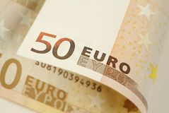 Banknote des Euro-fünfzig Stockbild