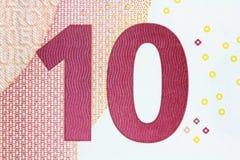 Banknote des Euro-zehn in einem Makroschuß!! Lizenzfreie Stockfotos