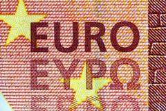 Banknote des Euro-zehn in einem Makroschuß Stockbilder