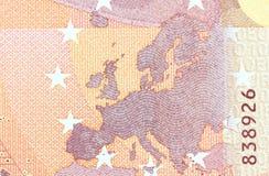 Banknote des Euro-zehn in einem Makroschuß Lizenzfreies Stockfoto