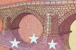 Banknote des Euro-zehn in einem Makroschuß Stockfotografie