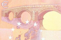 Banknote des Euro-zehn in einem Makroschuß Lizenzfreie Stockfotos