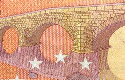 Banknote des Euro-zehn in einem Makroschuß Lizenzfreie Stockfotografie