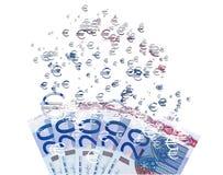 Banknote des Euros 20, die als Konzept des wirtschaftlichen crysis sich auflöst Stockbilder