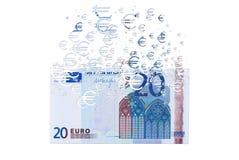 Banknote des Euros 20, die als Konzept des wirtschaftlichen crysis sich auflöst Lizenzfreies Stockbild
