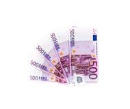 Banknote des Euros 500 lokalisiert auf weißem Hintergrund Ei auf goldenem Hintergrund Stockfoto