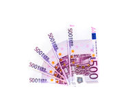 Banknote des Euros 500 lokalisiert auf weißem Hintergrund Ei auf goldenem Hintergrund Lizenzfreies Stockfoto