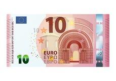 Banknote des Euros zehn lokalisiert auf weißem Hintergrund Lizenzfreie Stockfotos