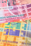 Banknote die Schweiz-Gelddes schweizer franken Stockfotos