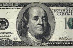 Banknote 100 Dollar Puzzlespiel Hintergrund Stockbild