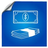 Banknote dollars hand-drawn marker. Banknote dollars drawn by hand with a marker on a blue background stock illustration