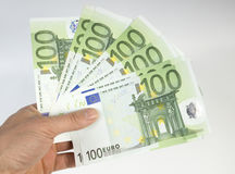 Banknote. Euro the note in a hand on a white background Royalty Free Stock Photography