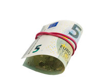Banknote 5 Euro per roll isolate on white Stock Photography
