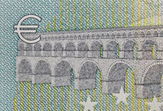 Banknote with Euro symbol closeup Stock Images