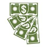 Banknote fan green icon Stock Image