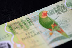 Banknote five Fijian dollars on a dark background Royalty Free Stock Photo