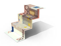 € 50 banknote folded as steps Stock Images