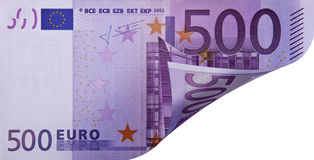 Banknote with folded corner. This image shows a banknote with the folded corner, allowing you to see what lies beneath Stock Images