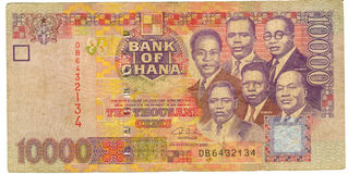 banknote ghana money old paper Arkivbilder