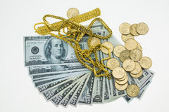 Banknote , Gold and coins with memories on white background Royalty Free Stock Photo