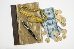 Banknote , Gold and coins with memories on white background Stock Photo