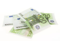Banknote of hundred euros. Isolated on white background Stock Images