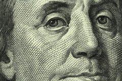 Banknote hundred US dollars. Close-up Royalty Free Stock Image