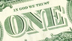 Banknote of one american dollar close up stock images