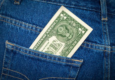 Banknote of one american dollar in the jeans pocket Royalty Free Stock Photos