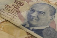 Banknote in one hundred liras with the invention of Mustafa Kema. L Ataturk. Wallpaper. Macro Stock Photography