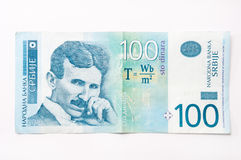 Banknote of one hundred Serbian dinars.  royalty free stock photo