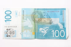 Banknote of one hundred Serbian dinars.  stock photography
