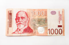 Banknote of one thousand Serbian dinars.  royalty free stock photography